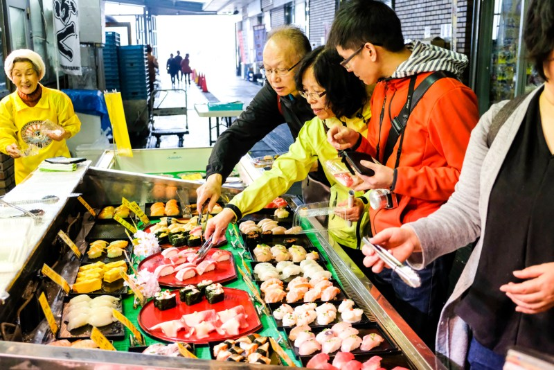 Pick your own sushi at the Karato Market