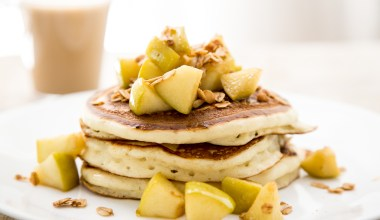 Fluffy Buttermilk Pancakes with Apples & Crispy Oats Recipe