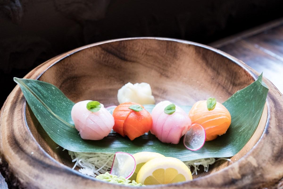 Temari sushi (ball-shaped sushi) from Green Leaf Cafe Burnaby BC
