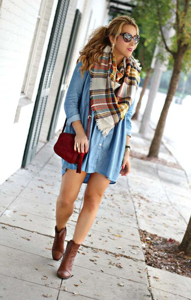 chambray dress and scarf 5