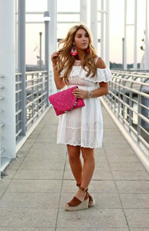 white off the shoulder dress