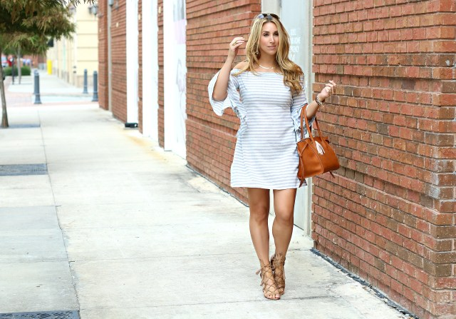 off the shoulder stripe dress