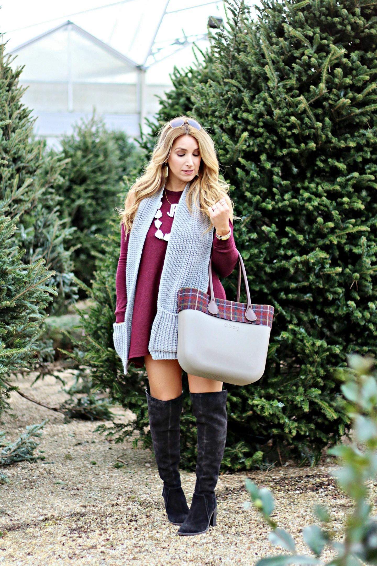 burgundy cold shoulder dress