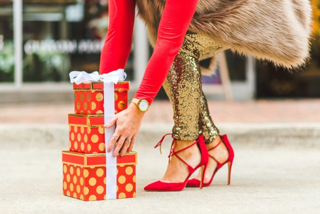 red laceup heels