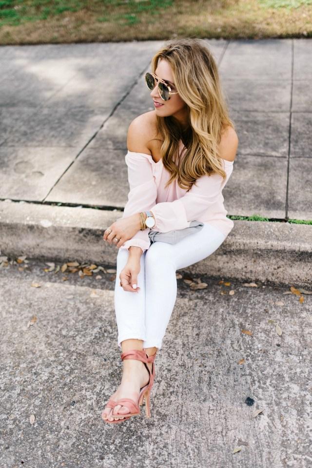 Blush Top and White Denim | January Hart Blog