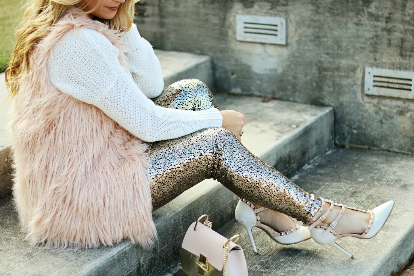 Blush Fur Vest + Sequins