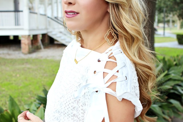 white lace up sleeve dress