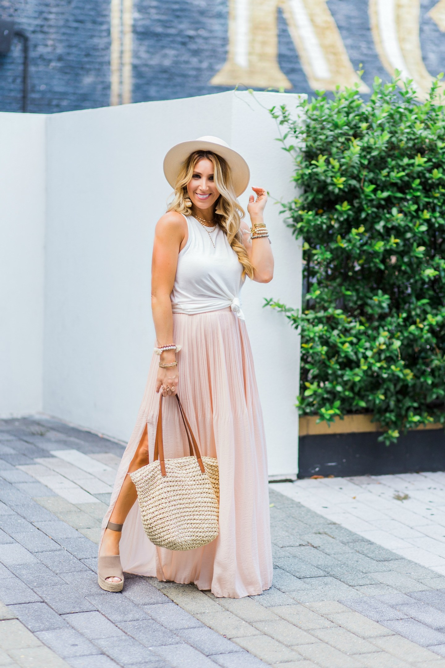 blush pleated maxi skirt
