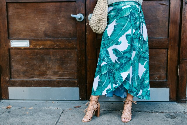 Tropical Print Wrap Skirt