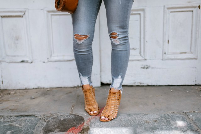 distressed grey denim jeans