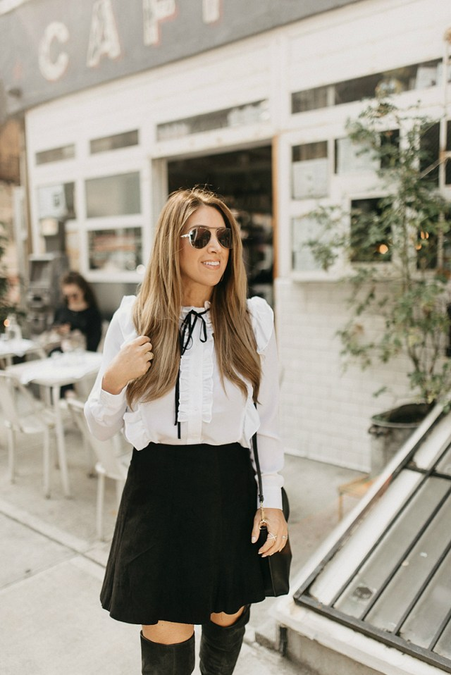Black Suede A-line Skirt