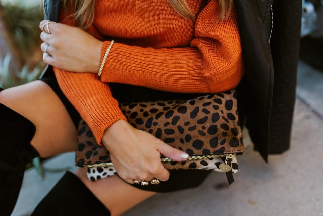 fold over leopard print clutch