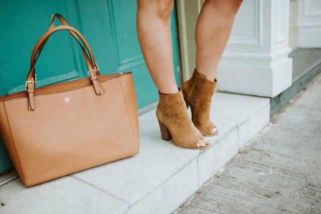 Peep toe cognac booties for women