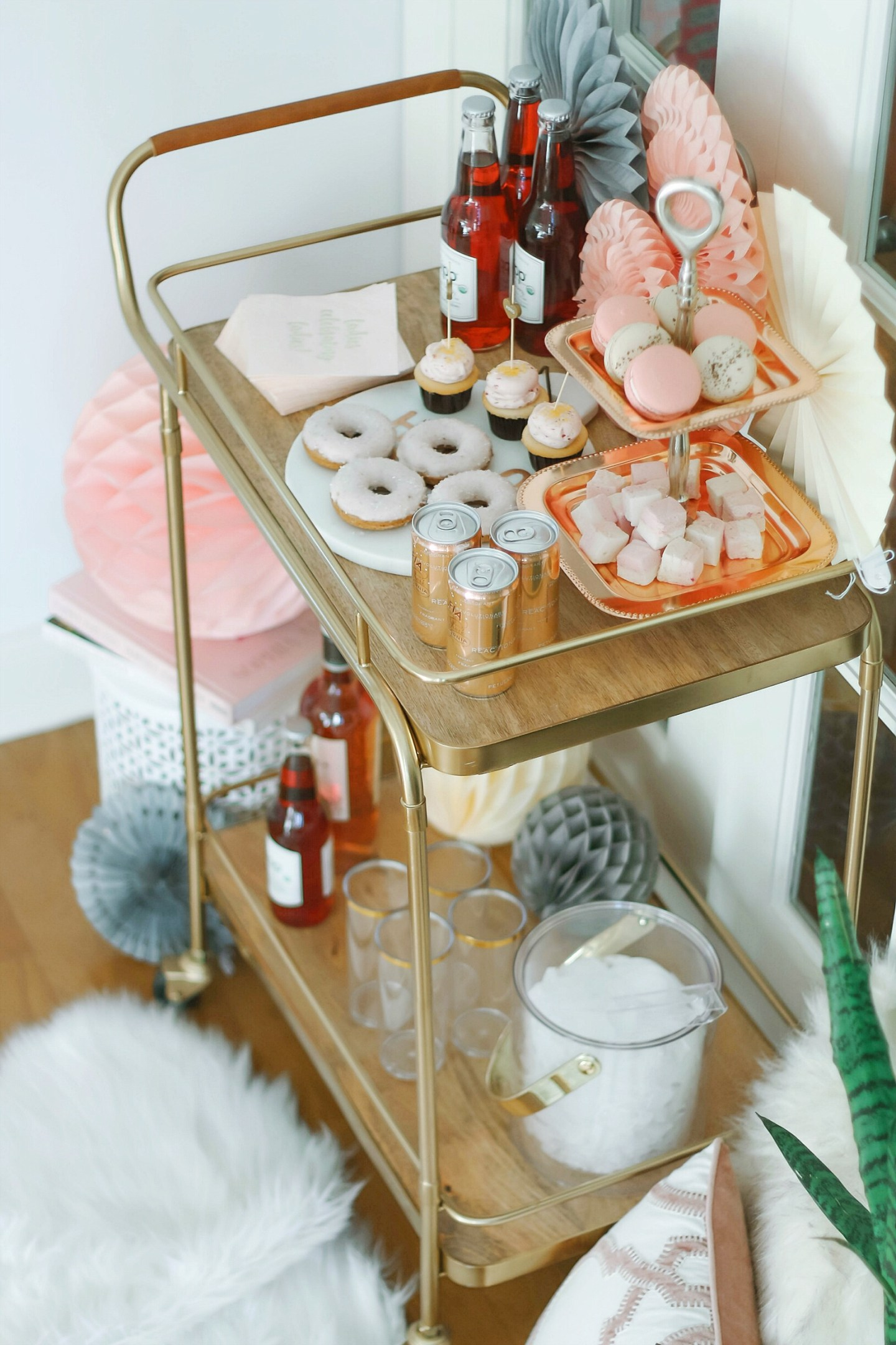Galentine's Day Bar Cart + Rose' Donuts Recipe