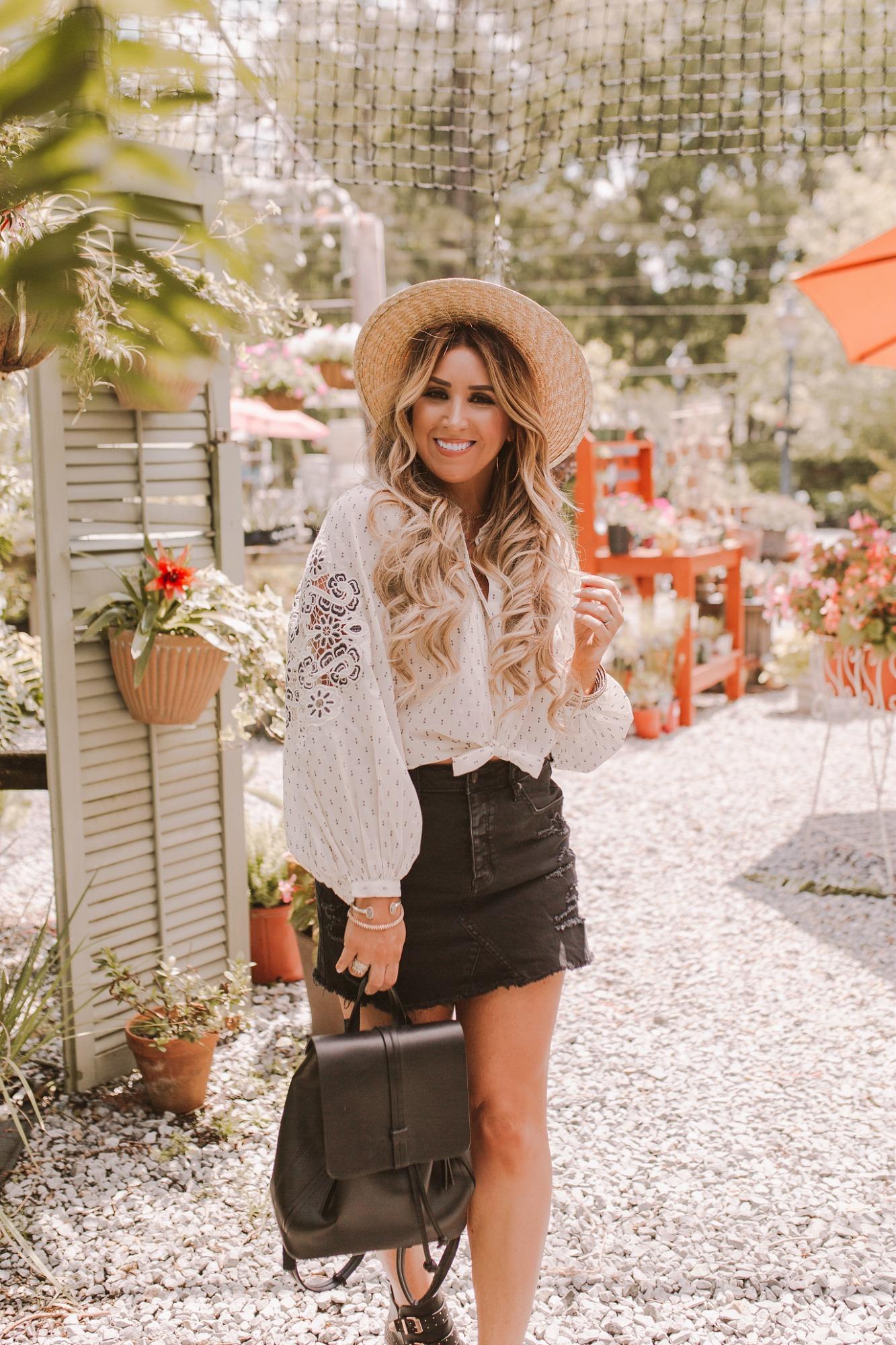 Distressed black denim skirt on JanuaryHart.com