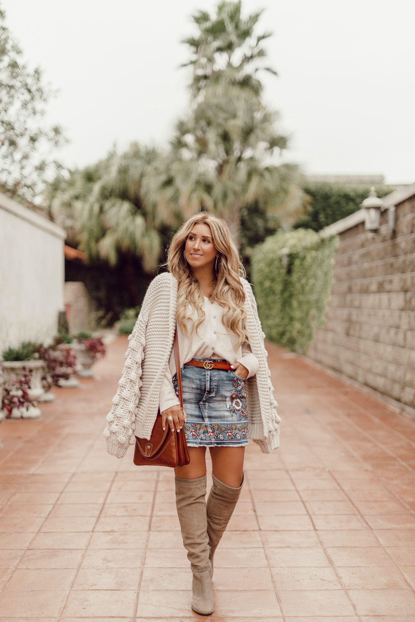 taupe over the knee boots for women