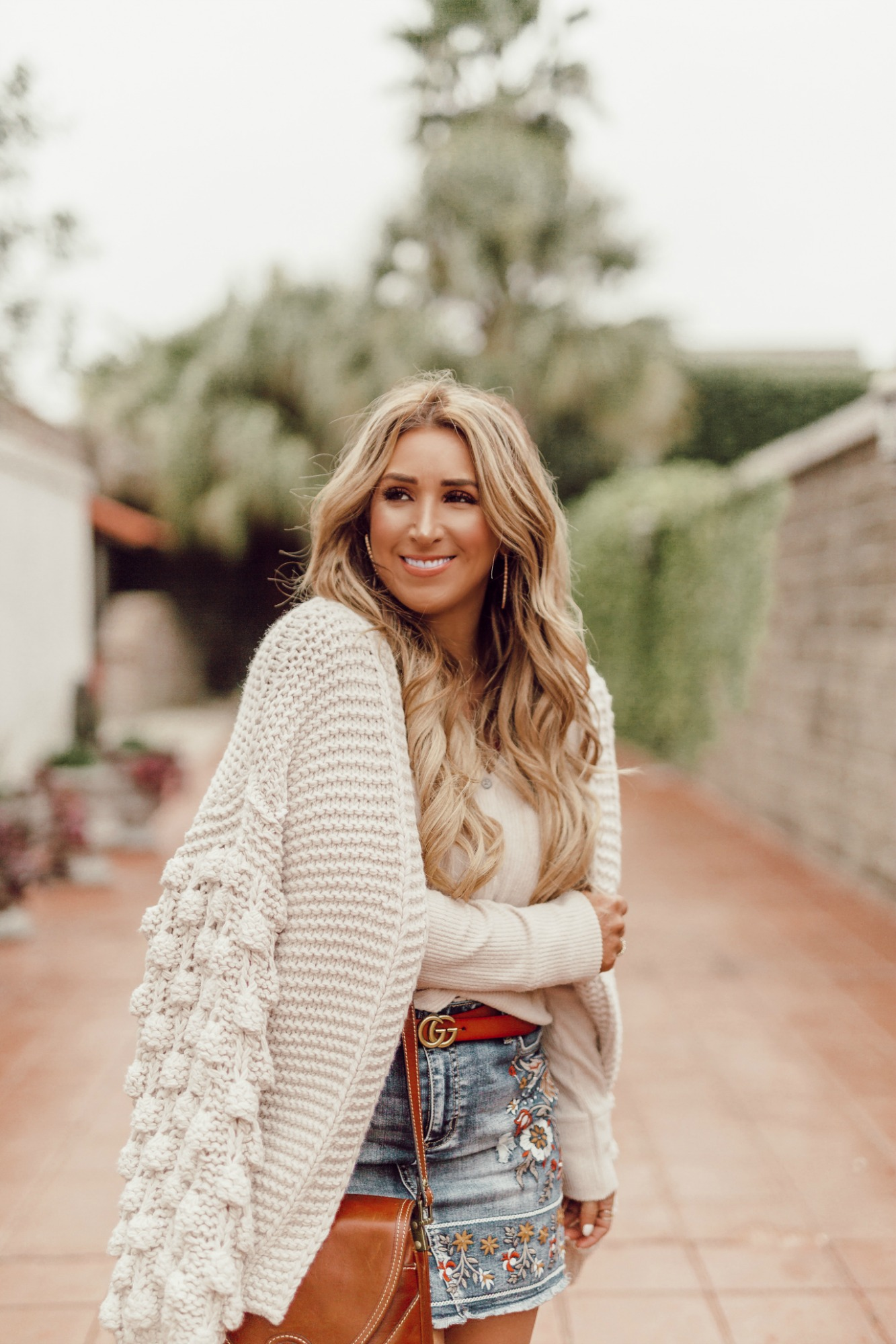 chunky neutral cardigan sweater