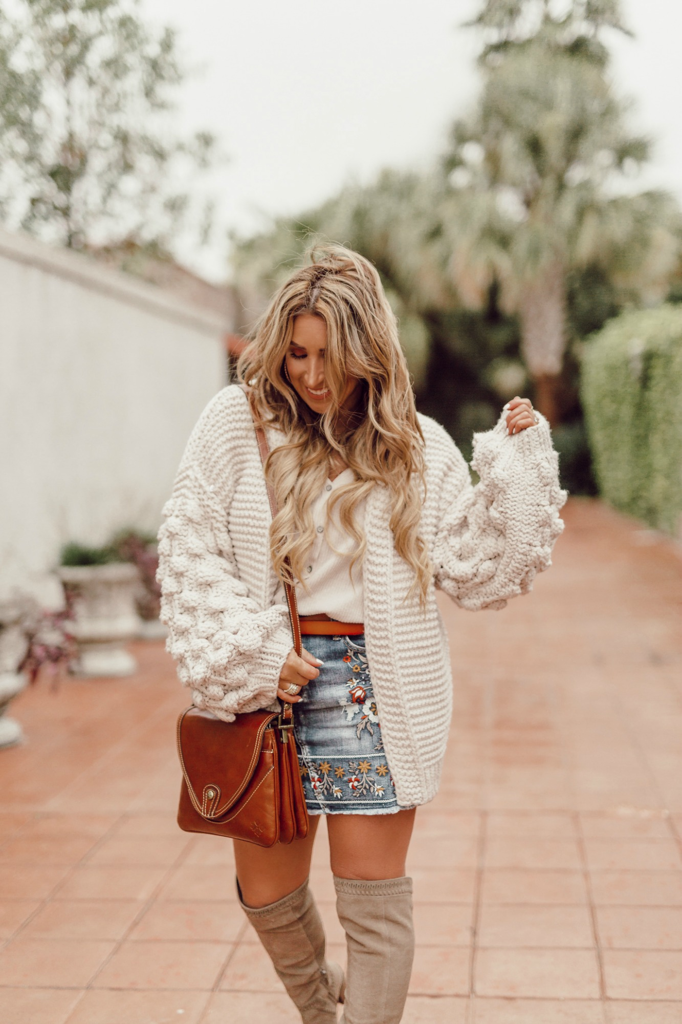 bubble sleeve neutral cardigan sweater