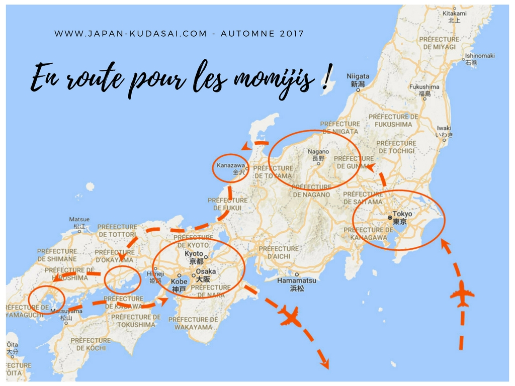 Road trip during one month accros Japan the next autumn in november to see momijis !