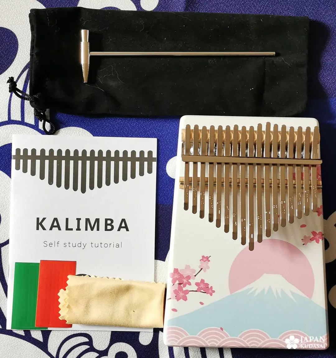 kalimba motif japonais sakura et mont fuji