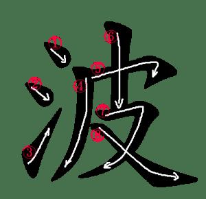 Kanji Stroke Order for 波