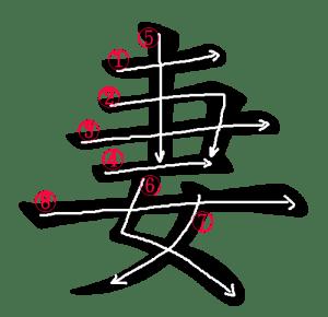 Kanji Writing Stroke order for 妻