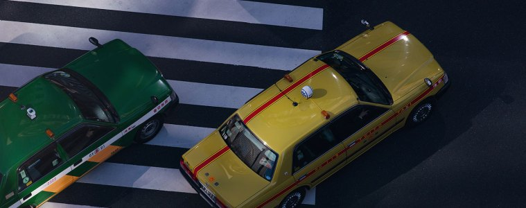 Tokyo taxis: looking down from Tokyu Plaza, Ginza