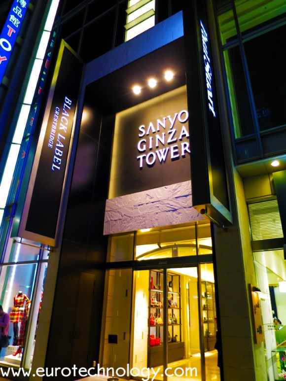 "Sanyo Shokai's ""Sanyo Ginza Tower"" after conversation from Burberry branding to Black Label by Crestbridge, Blue Label by Crestbridge, and other Sanyo brands"
