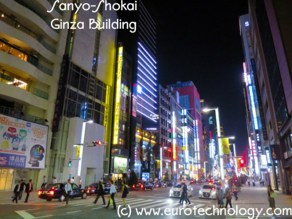 Sanyo Shokai Ginza Building (second Building from the left) in Tokyo Ginza, one of the world's top ranked shopping areas, being converted from Burberry to Sanyo branding.