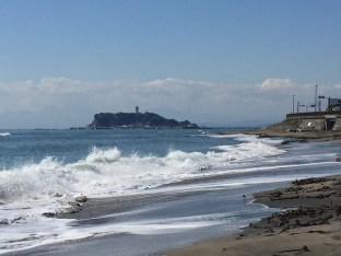 Enoshima in the distance