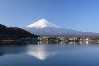 Mt Fuji with reflection in early morning