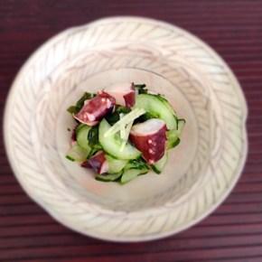 Sunomono de poulpe concombre et wakame タコと胡瓜の酢物