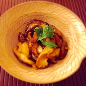 sauté de shiitake au beurre et soja しいたけのバター醤油炒め