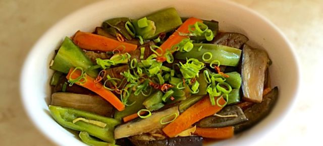 Marinade froide de légumes d'été 夏野菜の揚げ焼き浸し