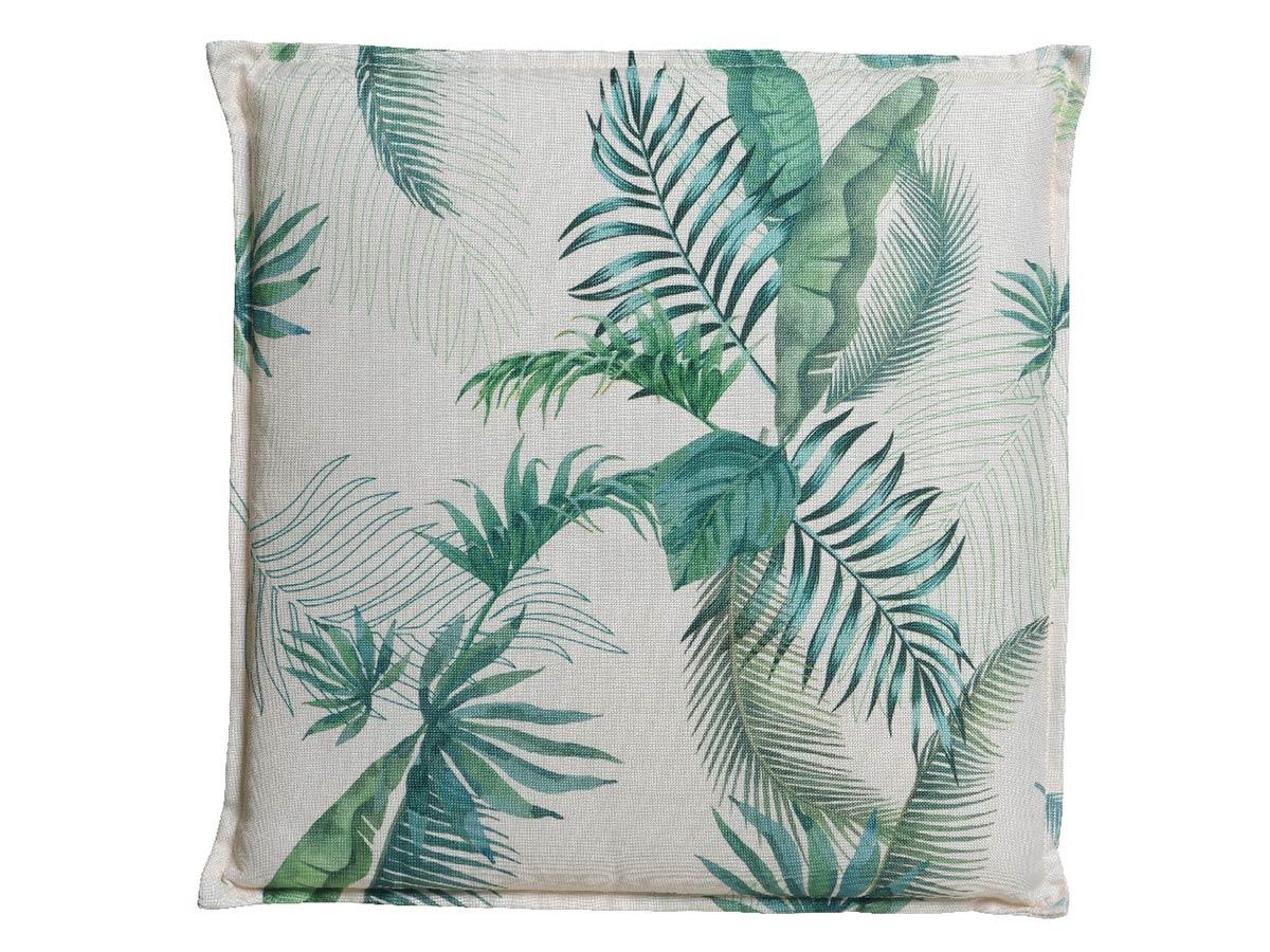 coussin feuilles de palmier 42 x 42 x 5 cm jardideco