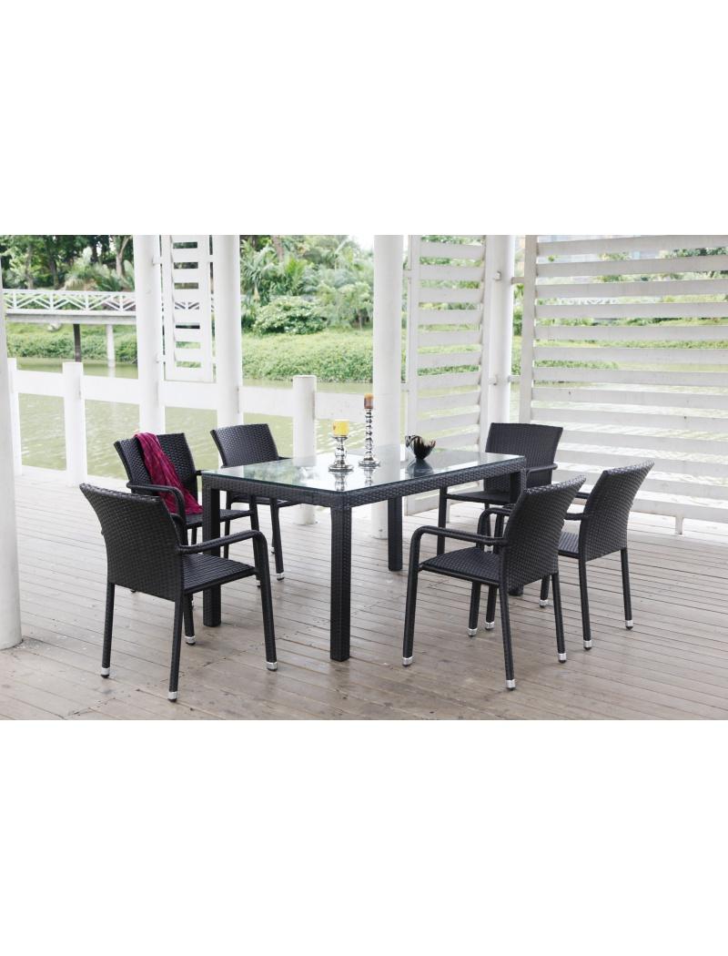 table de jardin noumea noire 6 fauteuils