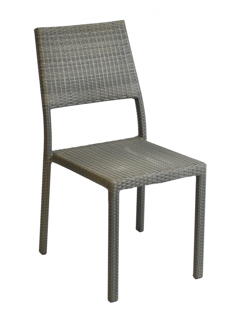 chaise manon resine tressee gris ice