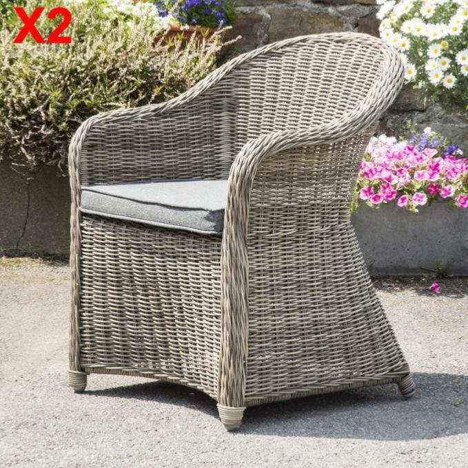chaise resine tressee ronde clea lot de 2