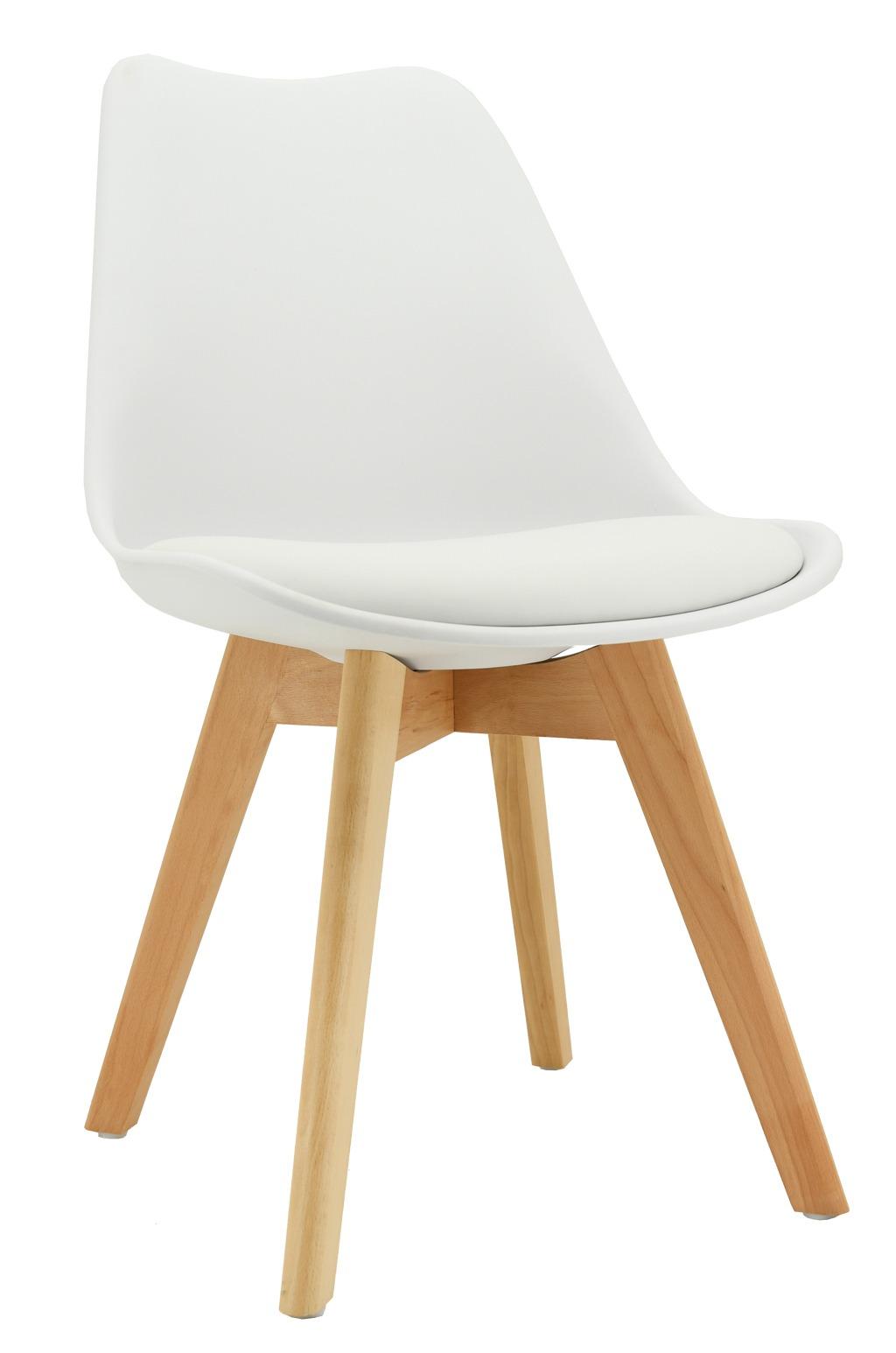 chaise coussin en polypropylene blanc et bois blanc