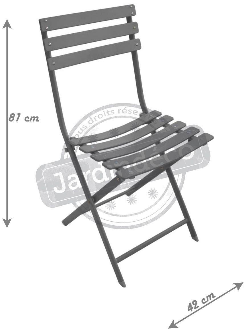 Chaise Pliante En Acier Nonza Lot De 2 Taupe