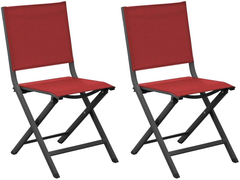 chaises jardin pliantes en aluminium thema lot de 2 gris rouge