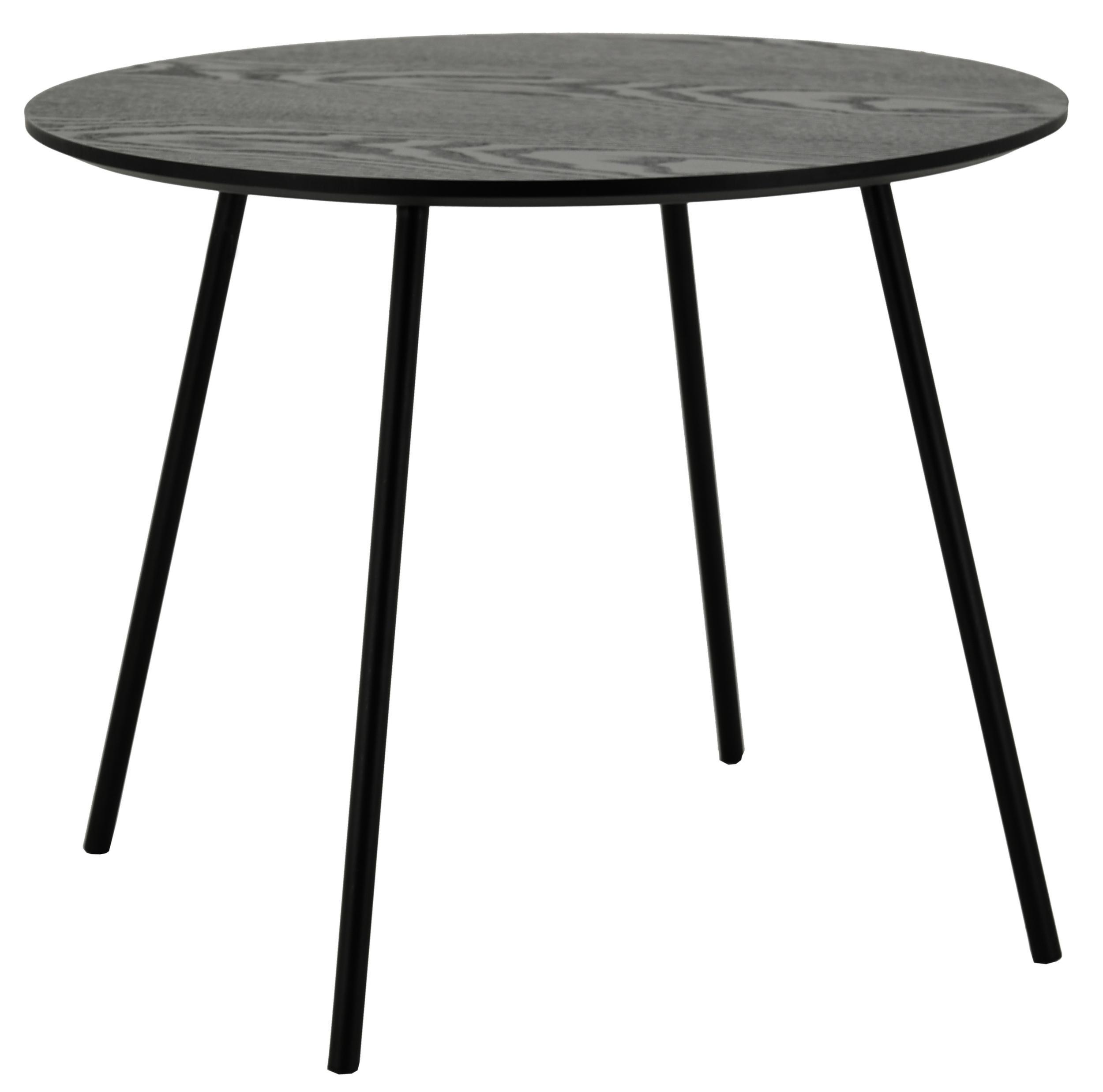 table ronde avec plateau plaquage frene noir