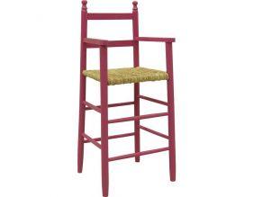 chaise haute pour enfant en hetre framboise