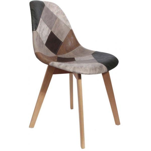 chaise en bois et simili cuir patchwork