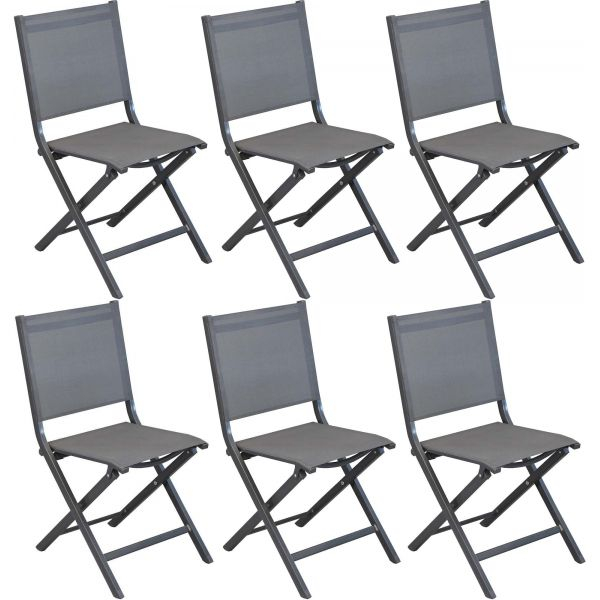 chaises pliantes en aluminium thema lot de 6 gris