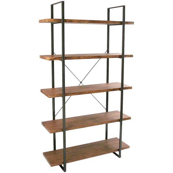 etagere style industriel bois et metal baldas 5 etageres
