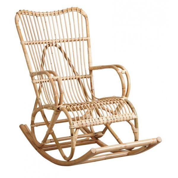 fauteuil a bascule en manau naturel