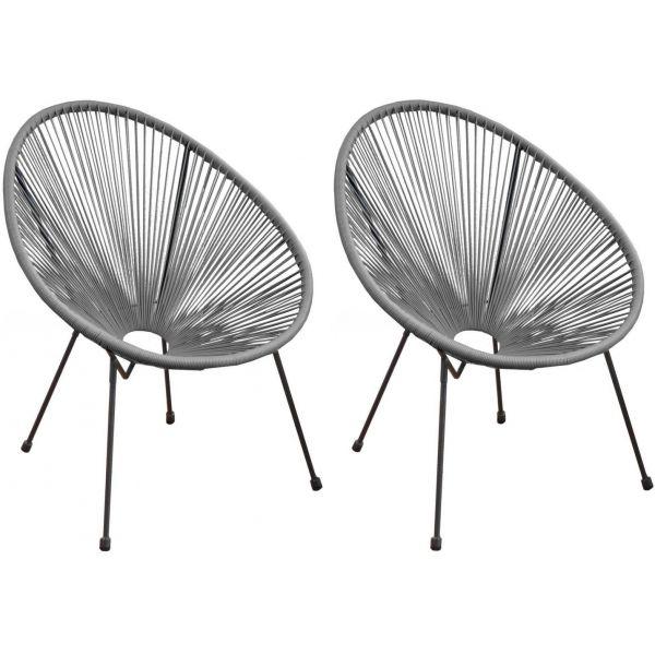 fauteuil fil de jardin en metal et resine tressee rio lot de 2 gris