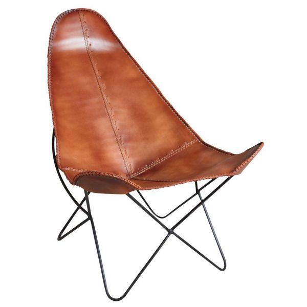 fauteuil papillon en metal et cuir