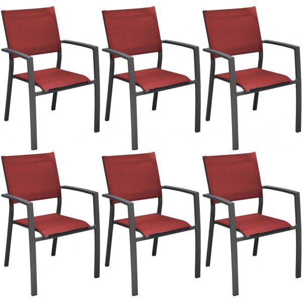 fauteuils de jardin aluminium et toile games lot de 6 gris rouge